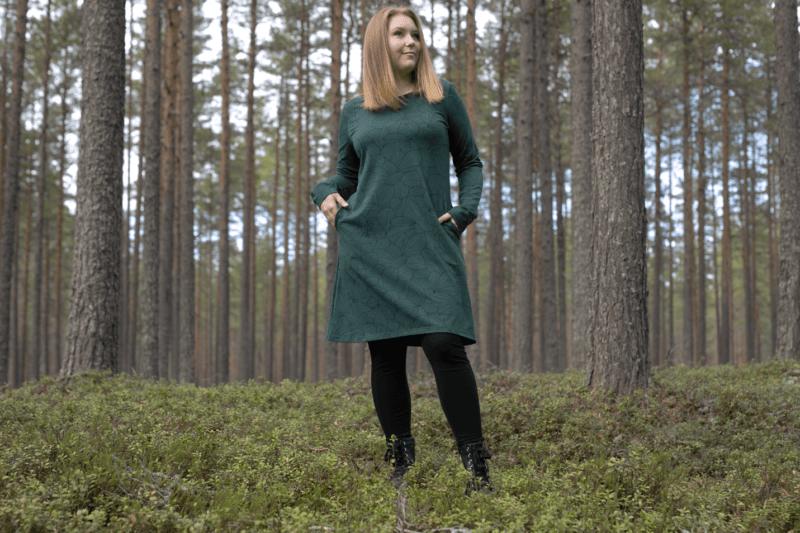 PaaPii Design Sini mekko Leafs tummanvihreä 4