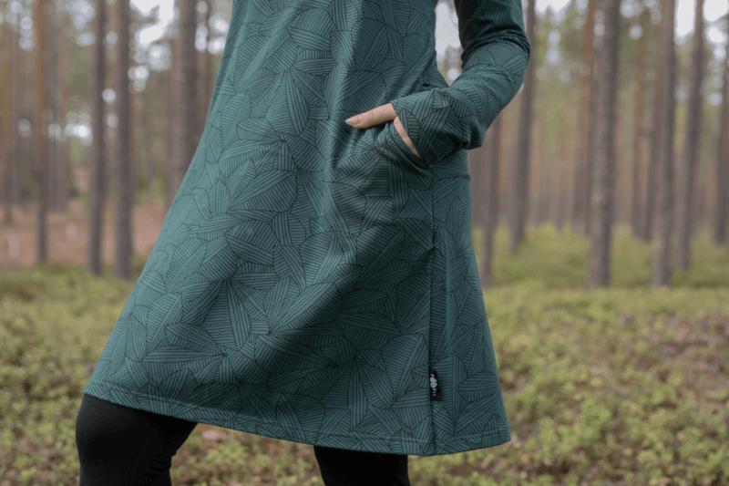 PaaPii Design Sini mekko Leafs tummanvihreä 5
