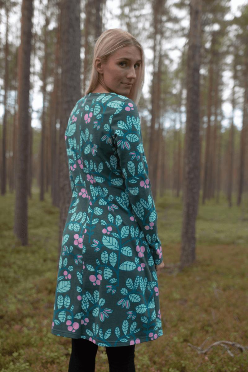 PaaPii Design Sini mekko Puolukkapuu tummanvihreä-minttu 1