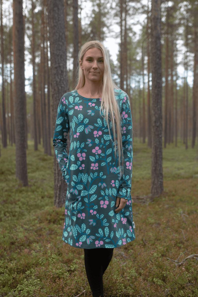 PaaPii Design Sini mekko Puolukkapuu tummanvihreä-minttu 2