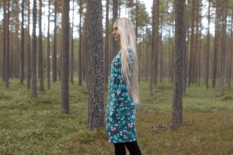 PaaPii Design Sini mekko Puolukkapuu tummanvihreä-minttu 3