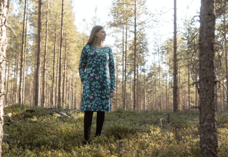PaaPii Design Sini mekko Puolukkapuu tummanvihreä-minttu 4
