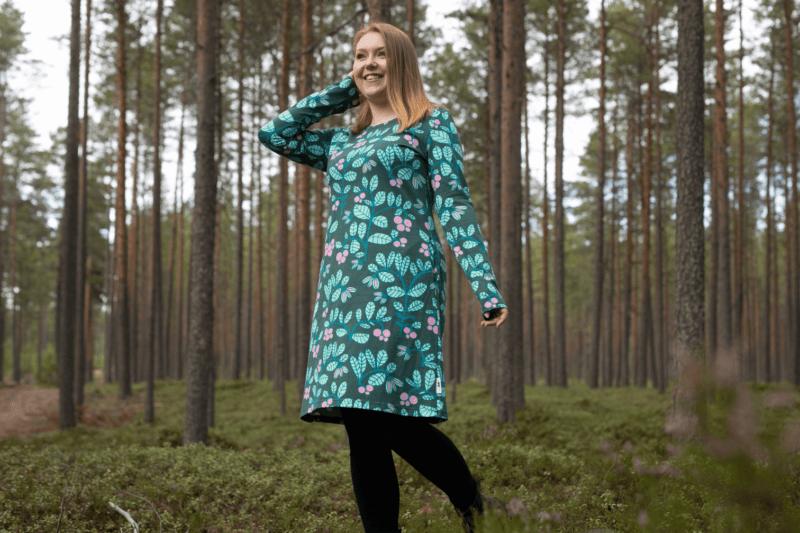 PaaPii Design Sini mekko Puolukkapuu tummanvihreä-minttu 6