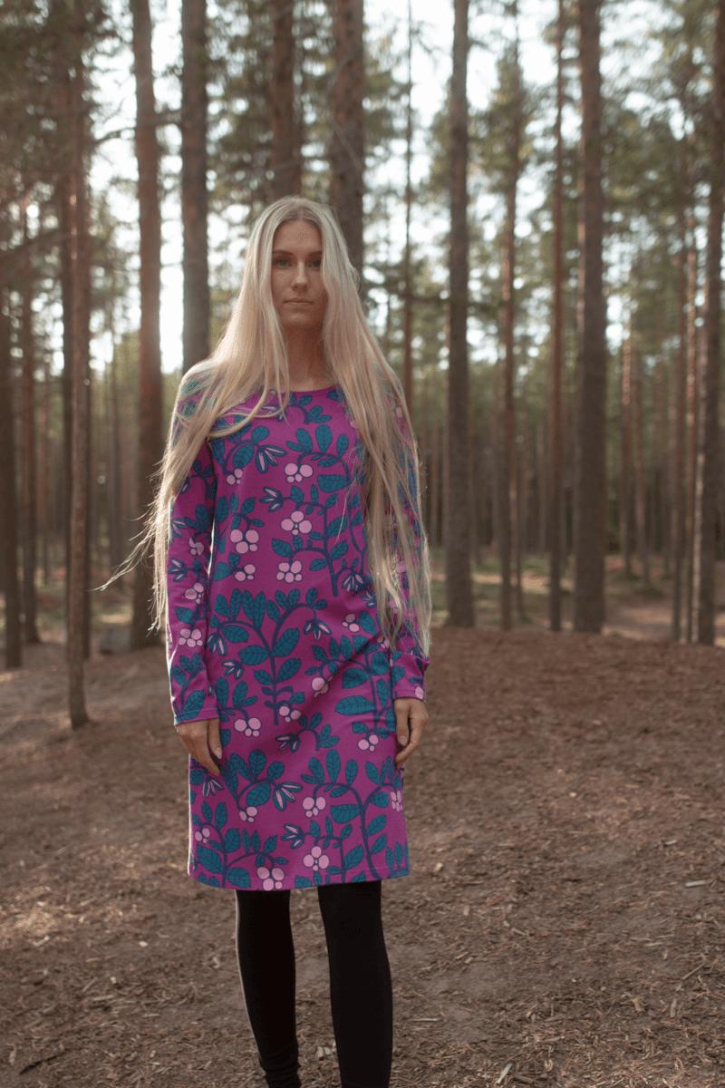 PaaPii Design Sini mekko Puolukkapuu violetti-petrooli 1