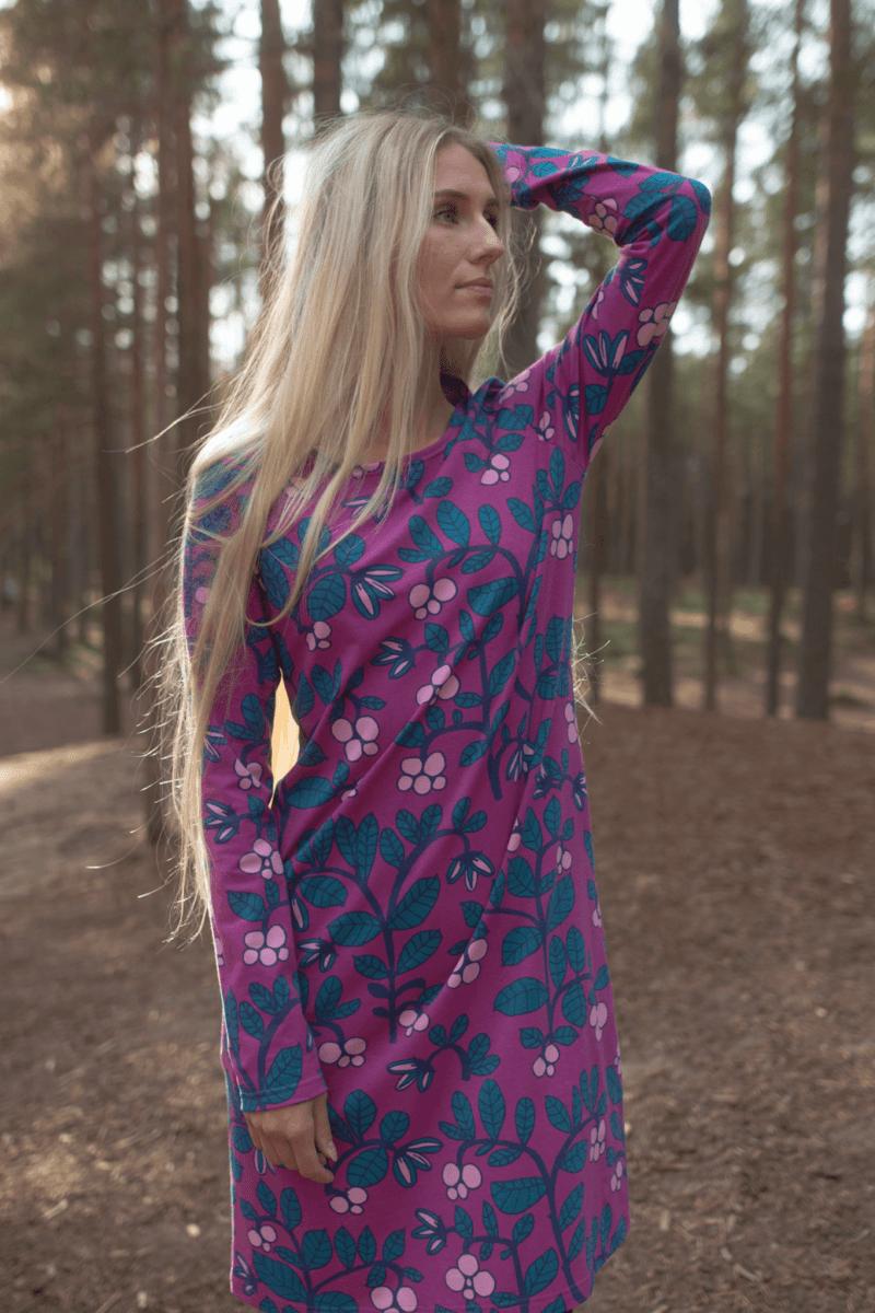 PaaPii Design Sini mekko Puolukkapuu violetti-petrooli 2