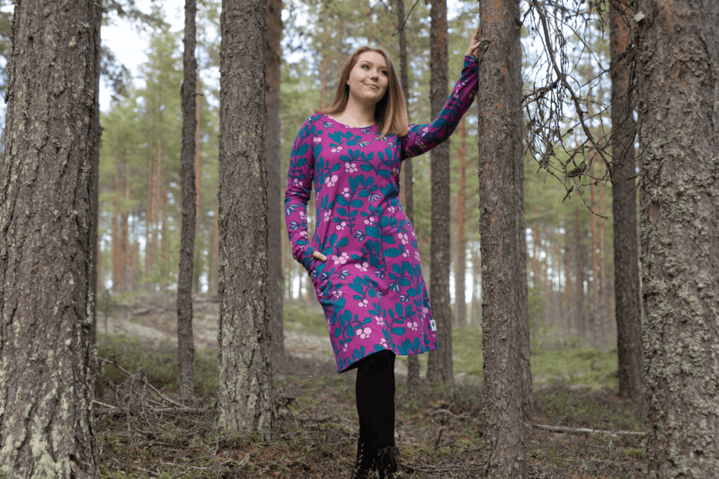 PaaPii Design Sini mekko Puolukkapuu violetti-petrooli 5