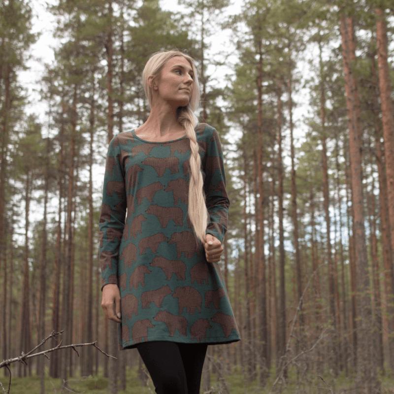 PaaPii Design Sumu tunika Ursa tummanvihreä-suklaa 1