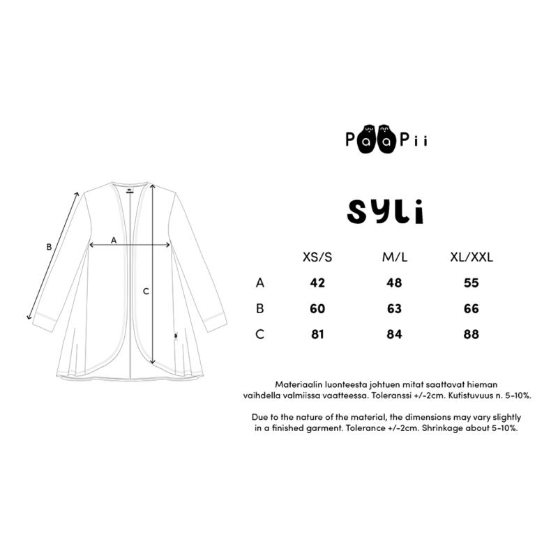 PaaPii Design Syli takki mittataulukko