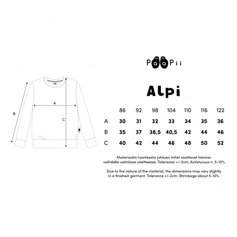 PaaPii Design Alpi collegepaita kokotaulukko