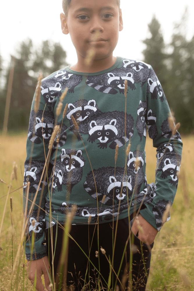 PaaPii Design Nooa paita Pesukarhu tummanvihreä-harmaa 1