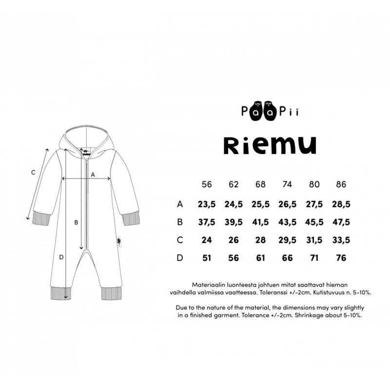 PaaPii Design Riemu collegehaalari kokotaulukko
